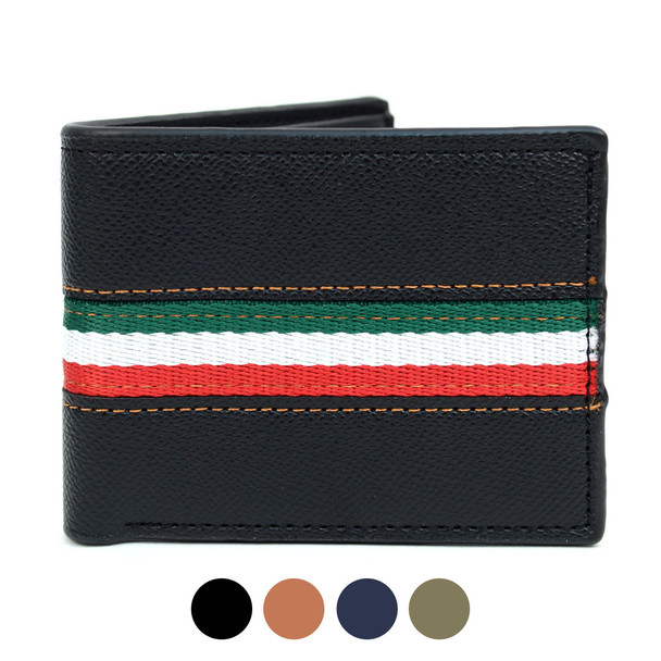Bi-Fold Leather Wallet with Striped Decoration- MLW5188