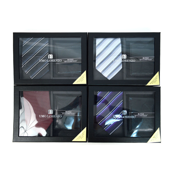 12pc Assorted Pack Poly Woven Tie & Wallet Sets - PWWB