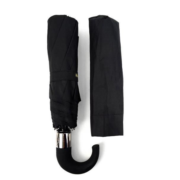 Black Compact Umbrella with Rubberized Curve Handle - UM5007