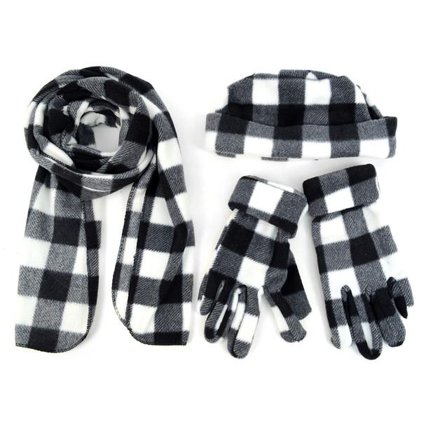 Women's Charcoal Plaid Fleece Winter Set WNSET9016