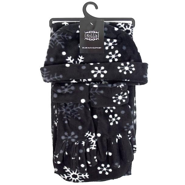 6pc Women's Fleece Snow flakes Black Hat,Scarf,Gloves Winter Set