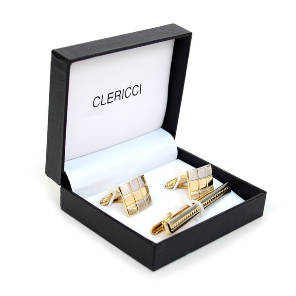 12pc Pack Silver and Gold Cufflink and Tie Bar Boxed Set CTBPRO-S8 G4