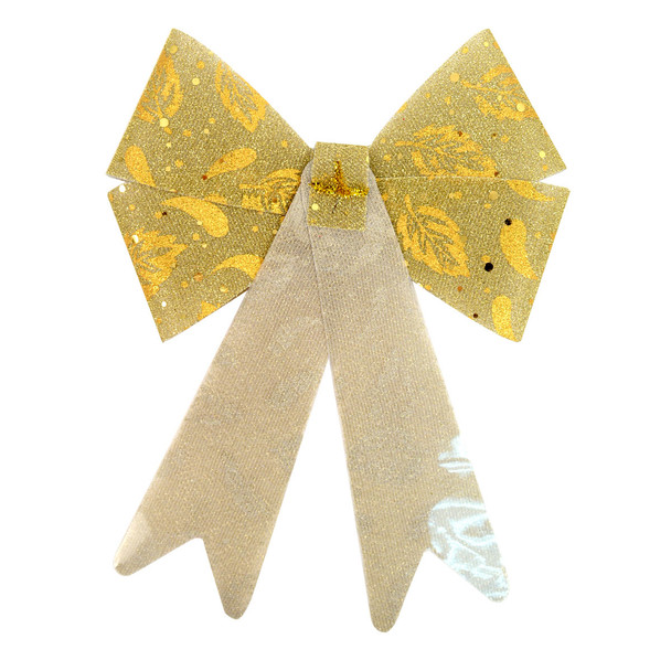 Christmas Holiday Glitter Gold Bow Decoration - XRT5185