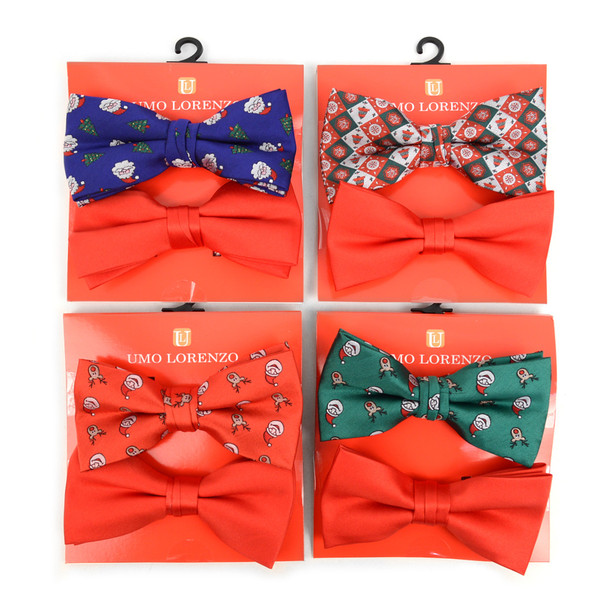 12pc Two Pack Assorted Men's Christmas Banded Bow Tie Duo Sets - FBB2X-XMAS