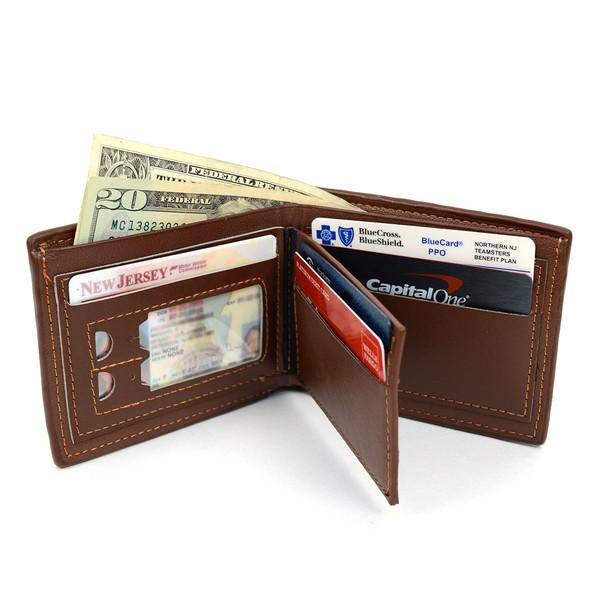 Bi-Fold Leather Men's Brown Wallet - MLW5195-BR