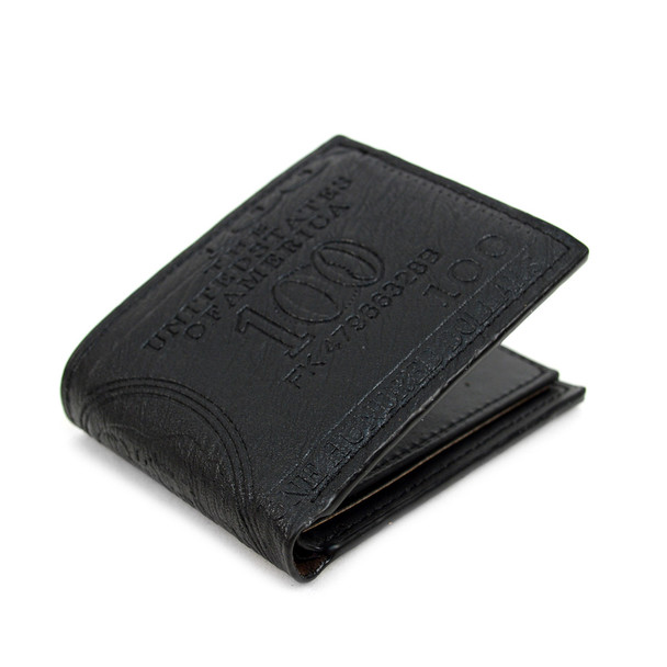 Bi-Fold Leather Men's $100 Dollars Embossed Wallet - MLW5198-BK