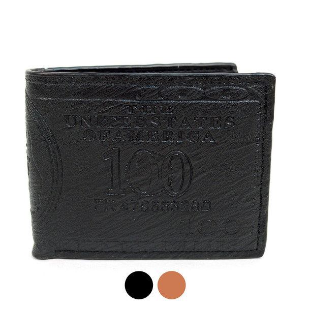 Bi-Fold  Leather Men's $100 Dollars Embossed  Wallet - MLW5198