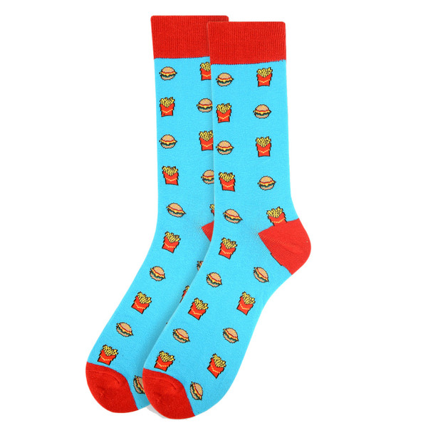 Men's Hamburger & French Fries  Novelty Socks - NVS19277-Blue