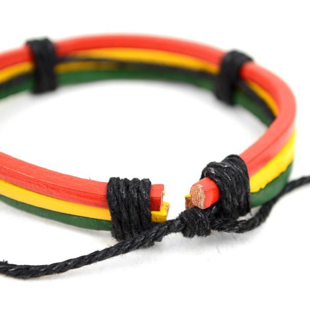 "Genuine Leather & Natural Stone ""Rasta Flag Color"" Two Pieces Bracelet Set for Men - 2BRCLT14"