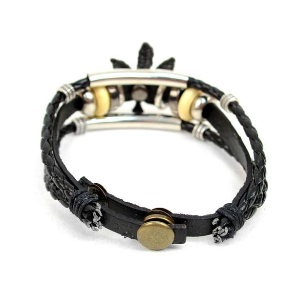 "Genuine Leather & Natural Stone ""Marijuana Leaf"" Two Pieces Bracelet Set for Men - 2BRCLT05"