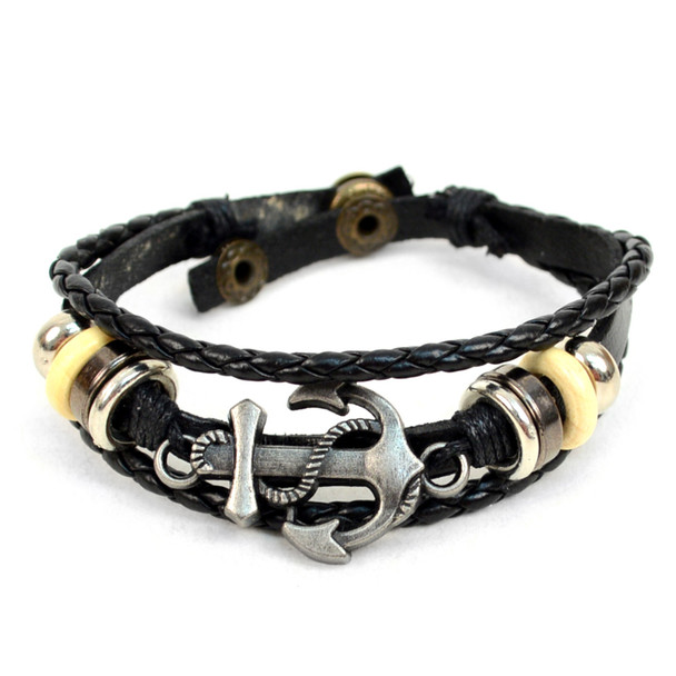 "Genuine Leather & Natural Stone ""Anchor"" Two Pieces Bracelet Set for Men - 2BRCLT04"