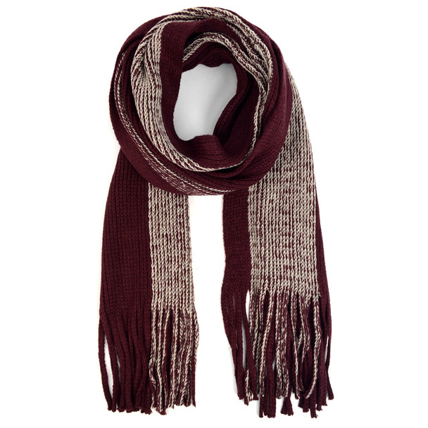 Men's Winter Knit Wine Scarf and Hat Set - ASCS1004