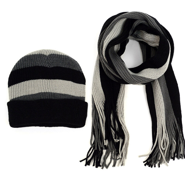 Men's Winter Knit Striped Scarf and Hat Set - ASCS1007
