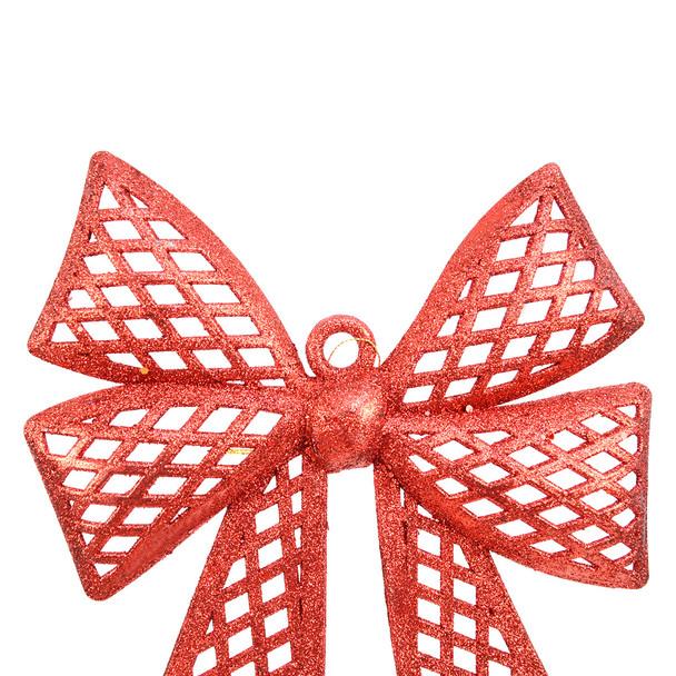 Christmas Red Plastic Bow Ornament Décor - XMAOR5241-RD