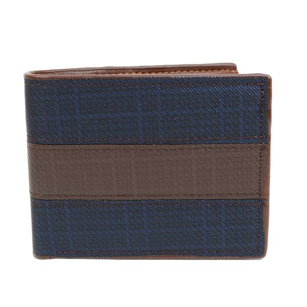 Bi-Fold  Leather Navy & Brown Men's Wallet - MLW5193-BL