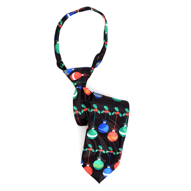 Boy's Christmas Ball  Black Zipper Tie - MPWZ-102