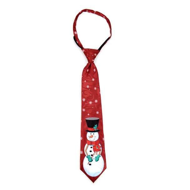 Boy's Christmas Snowman Burgundy Zipper Tie - MPWZ-105