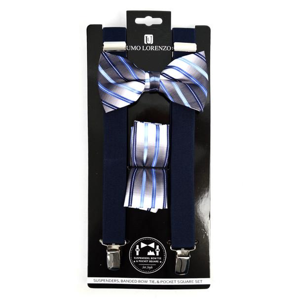 3pc Men's Navy Clip-on Suspenders, Striped Bow Tie & Hanky Sets - FYBTHSU-N.BL#3
