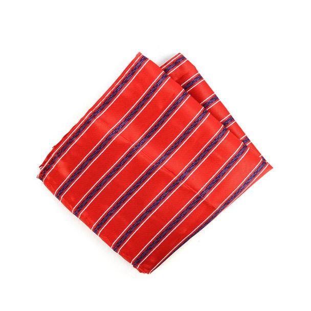 3pc Men's Red Clip-on Suspenders, Striped Bow Tie & Hanky Sets - FYBTHSU-RD#2