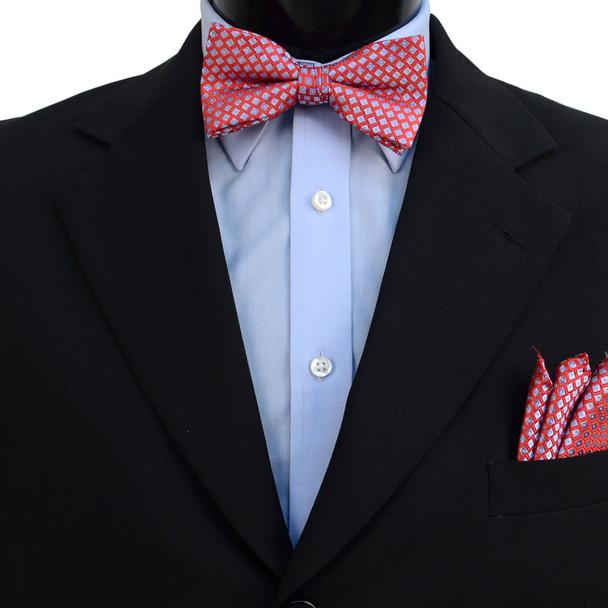 3pc Men's Red Clip-on Suspenders, Dots Bow Tie & Hanky Sets - FYBTHSU-RD#4