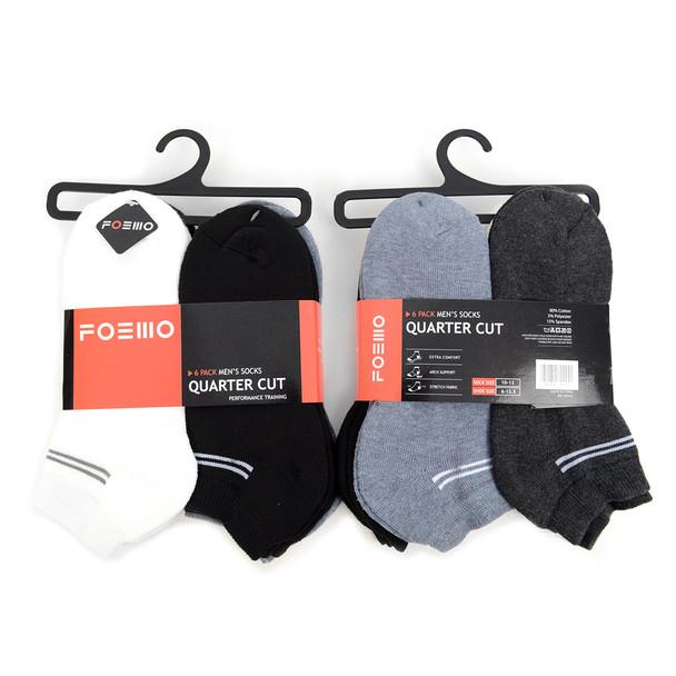 6 Pairs Pack  Men's Athletic Cushion Socks - A6PK/ASST