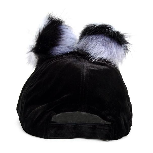 Black Velour Baseball Cap with Double Faux Fur Pom Pom - VLRC0823
