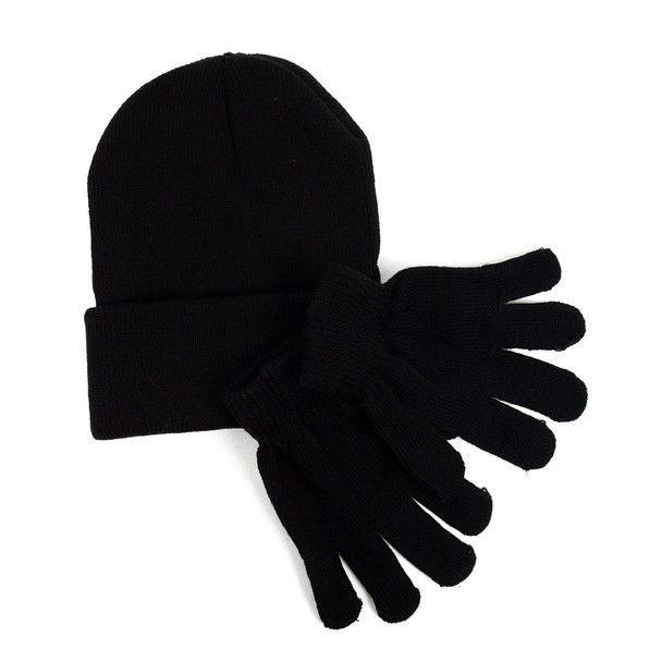 Kid's Winter Black Knitted Hat & Gloves Set - KAHS0816