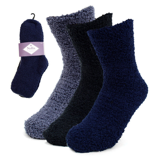 Assorted (3 Pairs) Women's Solid Color Warm Fuzzy Socks - 3PR-LFS6