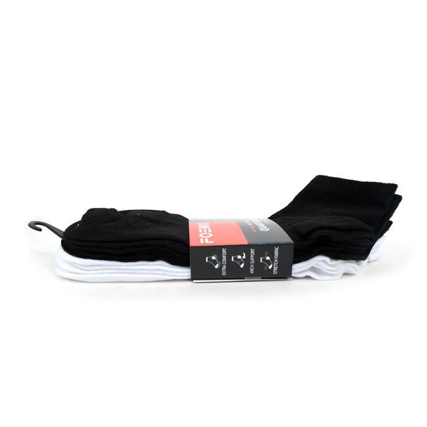 5 Pairs Pack  Men's Quarter Cut White & Black Socks - AK5PKASTD-BLK/WHT
