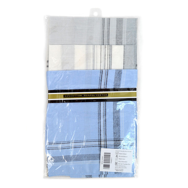 Case Pack Deal Men's White, Blue & Gray Handkerchiefs - PH003-1