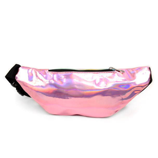 Pink Iridescent Holographic Waist Fanny Pack - LFBG1302