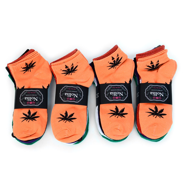 Assorted (6 pairs/pack) Women's Low Cut Marijuana Socks - LN6F1642-VT