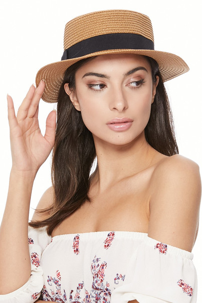 Spring/Summer Ribbon Round Flat Top Ladies' Hat - LFH190102
