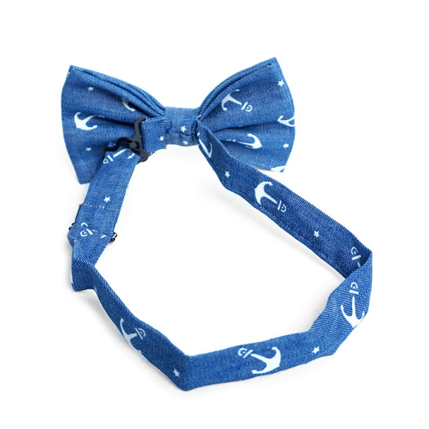 Men's Anchor Pattern Denim Bow Tie - DBT1000