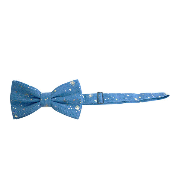 Men's Metallic Print Star Denim Bow Tie - DBT1001