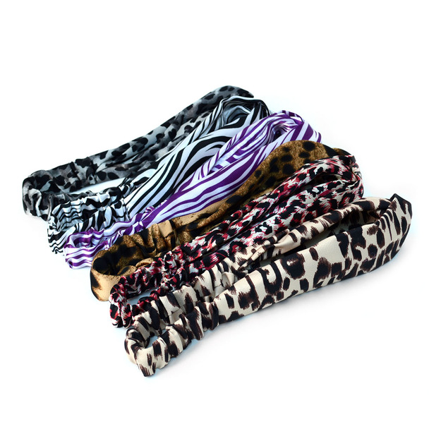 12pc Assorted Ladies Criss Cross Animal Print Summer Headbands - 12EHB1005-AP