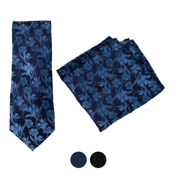 Floral Microfiber Poly Woven Tie & Hanky Set - MPWTH1810-11