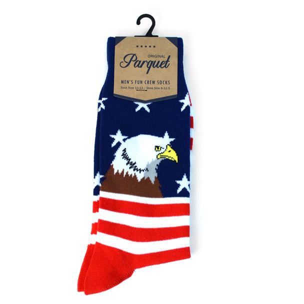 Men's Bald Eagle American Flag Premium Collection Novelty Socks - NVPS2024