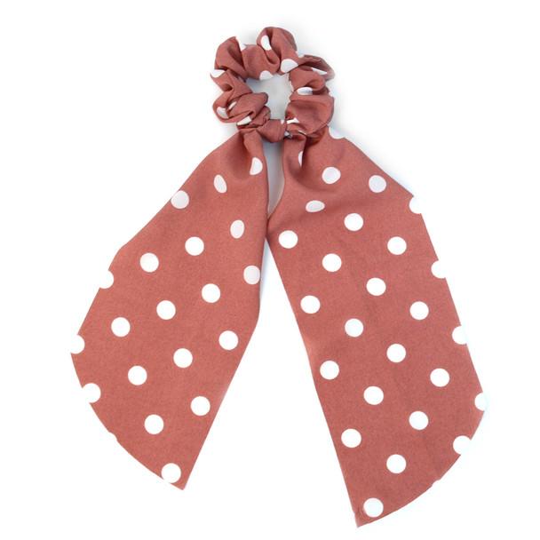 12pc Polka Dots Scrunchie Ribbon Hair Tie - 12SRT-PDT