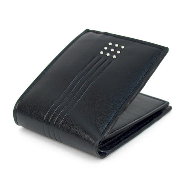Bi-Fold  Leather Men's Wallet with Studs Decoration - MLW5280-Black