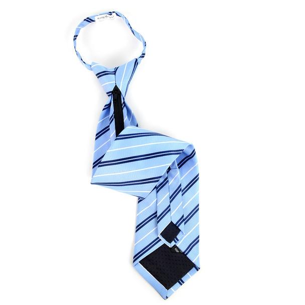 Men's Light Blue Striped Zipper Tie - MPWZ-BL4