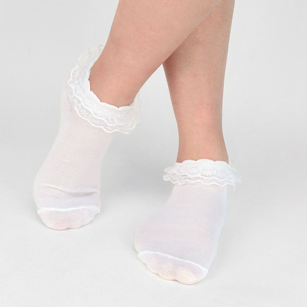 12 Pairs Solid Color Frilly Lace Ladies Socks - LLS12PK
