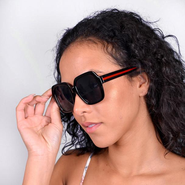 Black Ladie's Oversize  Sunglasses - LSG1006