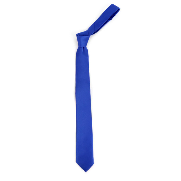 "Men's Poly Solid 2.25"" Satin Slim Tie with Paper Band - PSSBD"