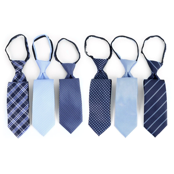 6pc Microfiber Classic Blue Zipper Pre-Tied Neckties - MPWZ-BL#2