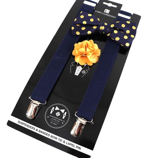 12pc Polka Dot Bow Tie, Lapel Pin & Suspenders Sets - BTLSU12ASST
