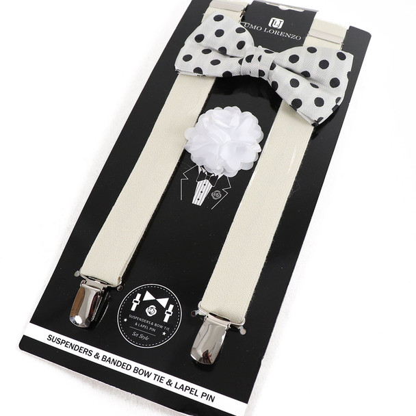 12pc Polka Dot Bow Tie, Lapel Pin & Suspenders Sets - BTLSU12ASST