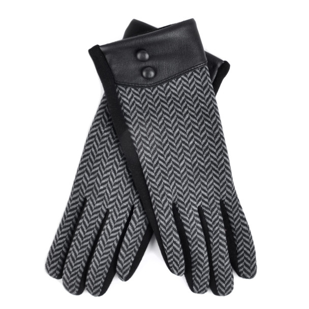 Women's Chevron Touch Screen Winter Gloves - LWG38-BK