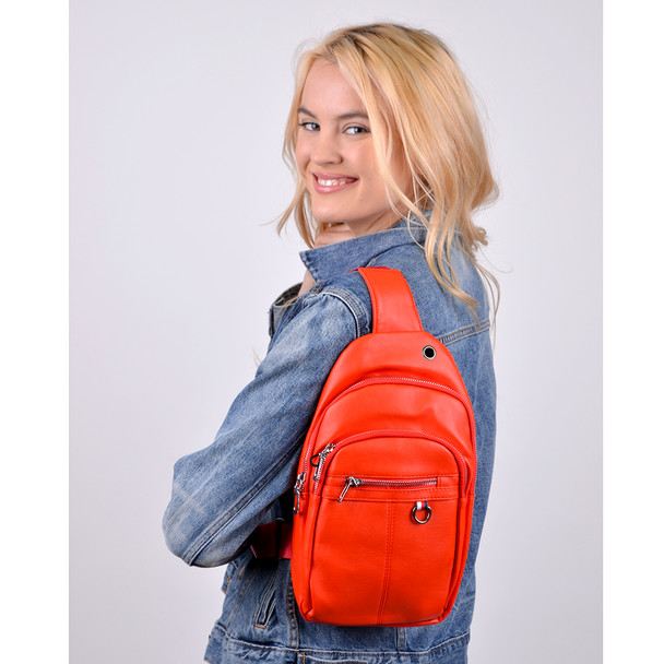 PU Leather Red Crossbody Sling Bag