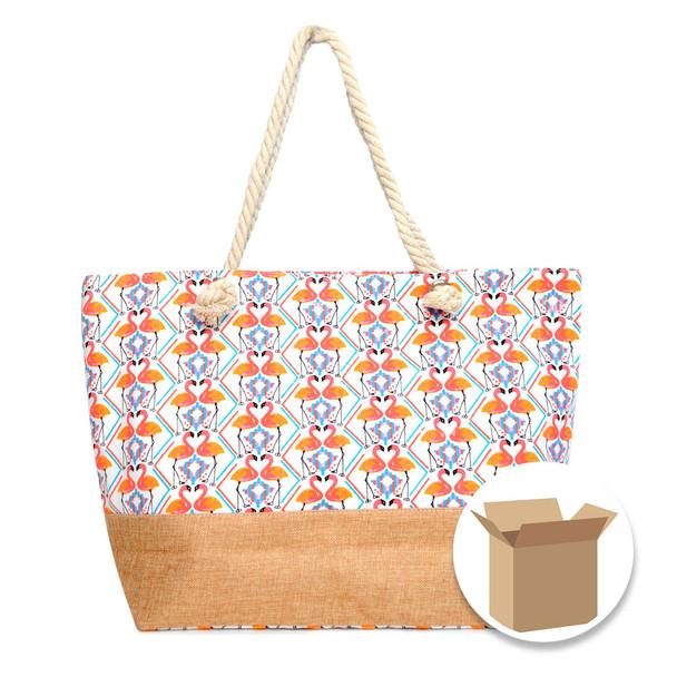 """Case Deal 48pc """"Flamingo"""" Summer Ladies Tote Bag - LTBG1219-Case"""